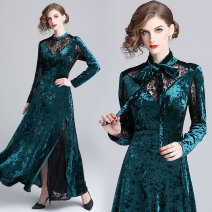 Dress Autumn 2020 Lace stitching velvet (back zipper split for necktie) M,L,XL,2XL longuette singleton  Long sleeves middle-waisted routine 30-34 years old
