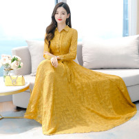 Dress Autumn 2020 White, yellow, black S,M,L,XL,2XL,3XL,4XL longuette singleton  Long sleeves commute stand collar High waist Dot zipper Big swing routine Others Type A Other / other Korean version 31% (inclusive) - 50% (inclusive) Chiffon other