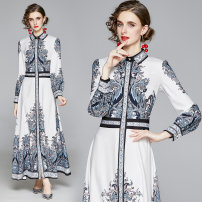 Dress Autumn 2020 blue M,L,XL,2XL longuette singleton  Long sleeves commute Polo collar middle-waisted Decor Socket A-line skirt routine 35-39 years old Type A printing 31% (inclusive) - 50% (inclusive) polyester fiber