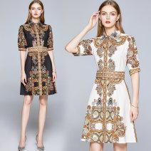 Dress Summer 2020 M,L,XL,2XL Middle-skirt Short sleeve middle-waisted Decor A-line skirt puff sleeve