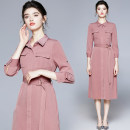 Dress Autumn 2020 Mid length dress singleton  three quarter sleeve commute Polo collar middle-waisted Solid color Socket A-line skirt routine 25-29 years old Type A Korean version Button