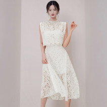 Dress Spring 2020 S,M,L,XL longuette Two piece set Sleeveless commute Crew neck High waist Solid color zipper Big swing Others 25-29 years old Type X Korean version Lace other polyester fiber
