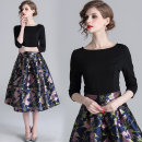 Dress Spring 2020 Black (elastic nylon cotton with gilded jacquard) back zipper M,L,XL,2XL singleton  three quarter sleeve street Crew neck middle-waisted Decor Socket A-line skirt routine Others 25-29 years old Type A Splicing 81% (inclusive) - 90% (inclusive) other cotton Europe and America