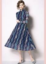 Dress Spring of 2019 Blue, gray S,M,L,XL,2XL Mid length dress singleton  Long sleeves commute Polo collar middle-waisted Solid color other Princess Dress routine Others 30-34 years old Type A 81% (inclusive) - 90% (inclusive) Lace nylon