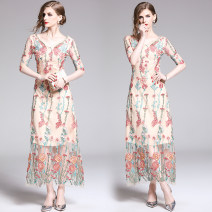 Dress Summer 2020 Apricot (V-neck open back mesh heavy industry embroidery) S,M,L,XL,2XL Mid length dress singleton  elbow sleeve street V-neck middle-waisted Decor zipper routine 25-29 years old Embroidery, zipper 31% (inclusive) - 50% (inclusive) Europe and America