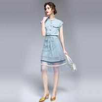 Dress Summer 2020 Light blue thin denim single breasted cardigan + elastic waist skirt M (elastic waist drawstring pleated yarn), l (elastic waist drawstring pleated yarn), XL (elastic waist drawstring pleated yarn), XXL (elastic waist drawstring pleated yarn) Mid length dress Two piece set commute