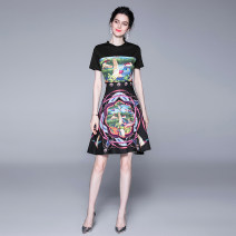 Dress Summer 2020 Black cotton side zipper with positioning printing M,L,XL,2XL Middle-skirt Short sleeve street Crew neck High waist Big swing Type A