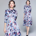 Dress Spring 2020 Picture color (back tie design of Button Waist cover) M,L,XL,2XL longuette Two piece set three quarter sleeve street other middle-waisted Broken flowers Single breasted A-line skirt Lotus leaf sleeve Others Type A Little love wardrobe Ruffles, folds, prints, bandages other