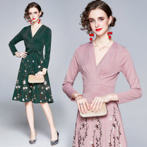 Dress Winter 2020 Army green, pink M. L, XL, 2XL, XXL weight 0.41kg longuette singleton  Long sleeves street V-neck middle-waisted Decor Socket A-line skirt routine Others 35-39 years old Type A Embroidery 8982 real spot 51% (inclusive) - 70% (inclusive) knitting Europe and America