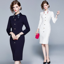 Dress Spring 2020 White (collar, heavy industry plate, flower nail bead, front split), dark blue (two kinds of different inlaid diamond modeling, buckle back zipper) S,M,L,XL,2XL Middle-skirt singleton  Long sleeves commute other middle-waisted Solid color zipper A-line skirt routine Others Type A