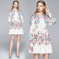 Dress Summer 2020 Picture color M,L,XL,2XL Middle-skirt singleton  Long sleeves commute Crew neck High waist Decor Socket A-line skirt bishop sleeve Others 18-24 years old Type A lady 81% (inclusive) - 90% (inclusive) other polyester fiber