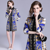 Dress Autumn 2020 M,L,XL,2XL Middle-skirt Long sleeves Loose waist Decor routine Other / other