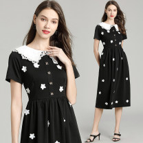 Dress Autumn of 2019 black S,M,L,XL Mid length dress singleton  Short sleeve commute Doll Collar Solid color A-line skirt other 25-29 years old Type A 31% (inclusive) - 50% (inclusive) knitting