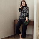 Fashion suit Spring 2020 S,M,L,XL,XXL,XXXL Three piece suit (chiffon shirt + Black sling + wide leg pants)