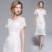 Dress Summer 2020 white S,M,L,XL,2XL Mid length dress singleton  Short sleeve street Crew neck middle-waisted Solid color zipper other Lotus leaf sleeve Others 81% (inclusive) - 90% (inclusive) Lace polyester fiber Europe and America
