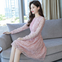 Dress Summer 2020 Apricot, black, pink S,M,L,XL,2XL Middle-skirt singleton  Long sleeves commute Crew neck High waist zipper Princess Dress routine Others Type A Korean version Stitching, zipper, lace Lace