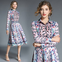 Dress Autumn of 2019 Picture color M,L,XL,2XL Mid length dress singleton  Long sleeves street Polo collar middle-waisted Socket Pleated skirt shirt sleeve Others 25-29 years old Type A More than 95% other other Europe and America