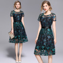 Dress Spring 2021 Black mesh green blue embroidery side zipper black lining S,M,L,XL,2XL singleton  Short sleeve commute Crew neck middle-waisted zipper A-line skirt other 25-29 years old Type A 31% (inclusive) - 50% (inclusive) polyester fiber