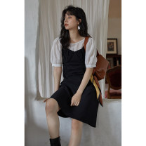 Dress Summer 2021 Black dress , White base coat S, M Middle-skirt singleton  commute other Loose waist Solid color Big swing other camisole 18-24 years old Type H Other / other Korean version Q16371 More than 95% polyester fiber