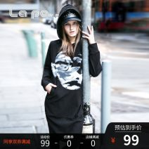 Dress Winter 2015 black S,M,L Middle-skirt singleton  Long sleeves street Hood middle-waisted Cartoon animation Socket A-line skirt raglan sleeve Others 18-24 years old Type A La paY-P applique  Y304918 More than 95% knitting cotton Europe and America