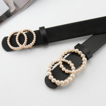 Belt / belt / chain Pu (artificial leather) Big circle pearl button black, small circle pearl button black, big circle pearl button transparent, small circle pearl button transparent female belt Sweet Double loop soft surface 2.8cm alloy 105cm