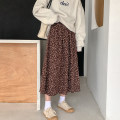 skirt Winter 2020 Average size Khaki, blue longuette commute High waist A-line skirt Broken flowers Type A 18-24 years old 91% (inclusive) - 95% (inclusive) other polyester fiber printing Korean version