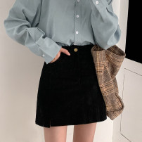 skirt Spring 2021 S,M,L Black, pink Short skirt commute High waist A-line skirt Solid color Type A 18-24 years old 71% (inclusive) - 80% (inclusive) corduroy polyester fiber Button, zipper Korean version