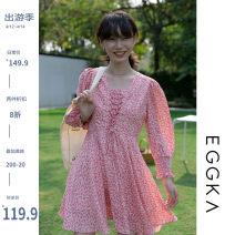 Dress Spring 2021 Blue, pink, size chart S, M Short skirt singleton  Long sleeves commute V-neck High waist Broken flowers Socket A-line skirt routine 18-24 years old Type X EGGKA Korean version Q21075-H 51% (inclusive) - 70% (inclusive)