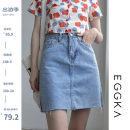 skirt Spring 2021 S,M,L,XL Light blue, size chart Short skirt commute High waist Denim skirt Solid color Type A 18-24 years old B21123-B 81% (inclusive) - 90% (inclusive) EGGKA cotton Korean version