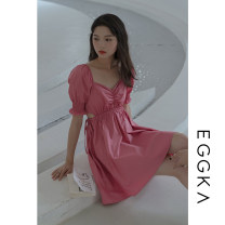 Dress Spring 2021 White, pink, size chart S, M Short skirt singleton  Short sleeve commute V-neck High waist Solid color Socket A-line skirt puff sleeve 18-24 years old Type X EGGKA Korean version Q21119-F 81% (inclusive) - 90% (inclusive) cotton