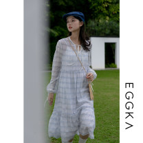 Dress Spring 2021 Blue, size chart XS,S Mid length dress singleton  Long sleeves commute Crew neck High waist lattice Socket Ruffle Skirt routine 18-24 years old Type X EGGKA Korean version More than 95%