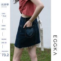 skirt Spring 2021 S,M,L Light blue, dark blue, size chart Short skirt commute High waist A-line skirt Type A 18-24 years old B21094-Z 71% (inclusive) - 80% (inclusive) EGGKA cotton Korean version