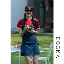 Dress Summer 2021 Blue, size chart S,M,L Short skirt singleton  Sleeveless commute square neck High waist Solid color Socket A-line skirt other camisole 18-24 years old Type X EGGKA Simplicity Q21091-H 81% (inclusive) - 90% (inclusive) cotton