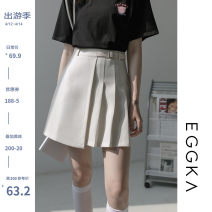 skirt Spring 2021 S,M,L,XL Black, apricot, size chart Short skirt commute High waist A-line skirt Solid color Type A 18-24 years old B21041-B More than 95% EGGKA polyester fiber zipper Korean version