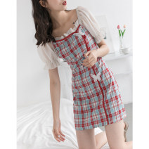 Dress Autumn 2020 Red, yellow S, M Short skirt singleton  Short sleeve commute square neck High waist lattice A-line skirt puff sleeve 18-24 years old Type A EGGKA bow Q20132-E 51% (inclusive) - 70% (inclusive) cotton