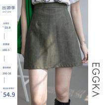 skirt Autumn 2020 S,M,L,XL Black, green, brown Short skirt Versatile High waist A-line skirt Solid color Type A 18-24 years old B20189-H 51% (inclusive) - 70% (inclusive) other EGGKA PU Zipper, light proof
