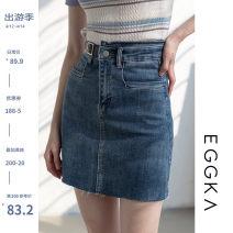 skirt Spring 2021 S,M,L,XL Blue, size chart Short skirt commute High waist A-line skirt Solid color Type A 18-24 years old B21021-F 51% (inclusive) - 70% (inclusive) EGGKA cotton Asymmetric, button, zipper Korean version
