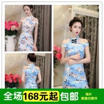 Dress Autumn of 2018 Blue Crane, apricot crane Average size singleton  Socket Other / other