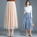 skirt Winter of 2018 One size fits all [1'8-2'5 recommended] Blue, black, pink, beige Mid length dress Versatile High waist Pleated skirt Type A 25-29 years old Qz59-a835 lace velvet skirt More than 95% Lace New European clothes