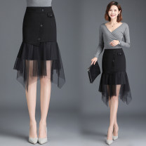 skirt Autumn 2020 M [2-foot-1], l [2-foot-1], XL [2-foot-2], 2XL [2-foot-3], 3XL [2-foot-4], 4XL [2-foot-5] black Middle-skirt Versatile High waist Irregular Solid color Type H 30-34 years old Qz57-9913 fishtail skirt with mesh stitching other New European clothes polyester fiber
