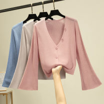 Wool knitwear Summer 2020 Average size 0025 Milky white, black, sky blue, apricot, pink, gray Long sleeves Cardigan silk 31% (inclusive) - 50% (inclusive) Solid color Single breasted