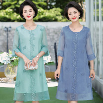 Middle aged and old women's wear Summer of 2019 Blue, green, pink XL suggests less than 100 kg, 2XL suggests 100-120 kg, 3XL suggests 120-135 kg, 4XL suggests 130-145 kg, 5XL suggests 140-165 kg fashion Dress easy singleton  Decor 40-49 years old Socket thin Crew neck Medium length routine Chiffon