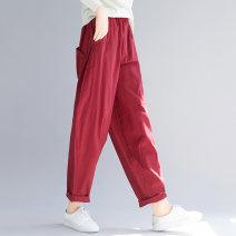 Casual pants Khaki, red, black M. Big XL, big XXL, big L Spring 2021 trousers Wide leg pants High waist commute routine 18-24 years old 31% (inclusive) - 50% (inclusive) hemp literature hemp