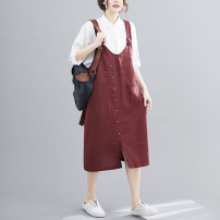 Dress Summer 2021 Black, maroon L,XL,2XL Mid length dress singleton  commute Loose waist Solid color other other Others 18-24 years old Type A literature 81% (inclusive) - 90% (inclusive) cotton