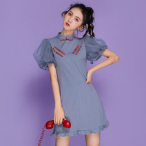 Dress Spring 2021 grey S,M,L,XL,2XL Mid length dress singleton  Short sleeve commute stand collar middle-waisted Solid color Socket A-line skirt routine 18-24 years old Type A ethnic style 51% (inclusive) - 70% (inclusive) cotton