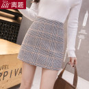 skirt Autumn of 2019 S M L XL XXL Red and yellow Short skirt commute High waist A-line skirt lattice Type A 18-24 years old D5001 91% (inclusive) - 95% (inclusive) Wool Digression polyester fiber zipper Korean version Polyester 95% wool 5% Pure e-commerce (online only)