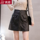 skirt Autumn 2020 S M L XL XXL black Short skirt commute High waist A-line skirt Solid color Type A 18-24 years old LT-D5243 More than 95% other Digression other Button zipper 3D Korean version PU Pure e-commerce (online only)