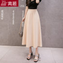 skirt Summer 2020 S M L XL XXL Mid length dress commute High waist High waist skirt Solid color Type A 18-24 years old 91% (inclusive) - 95% (inclusive) Chiffon Digression polyester fiber fold Korean version Polyester 95% polyurethane elastic fiber (spandex) 5% Pure e-commerce (online only)