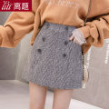 skirt Winter of 2019 S M L XL XXL Brown grey Short skirt commute High waist A-line skirt lattice Type A 18-24 years old 91% (inclusive) - 95% (inclusive) Wool Digression polyester fiber Pocket button zipper Korean version Polyester 95% wool 5% Pure e-commerce (online only)