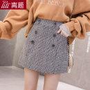 skirt Winter of 2019 S M L XL XXL Brown grey Short skirt commute High waist A-line skirt lattice Type A 18-24 years old 91% (inclusive) - 95% (inclusive) Wool Digression polyester fiber Pocket button zipper Korean version Polyester 95% wool 5% Pure e-commerce (online only)